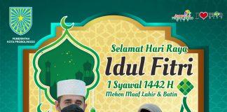 Pemerintah Kota Probolinggo Mengucapkan Selamat Hari Raya Idul Fitri 1 Syawal 1442 H Mohon Maaf Lahir dan Bathin.