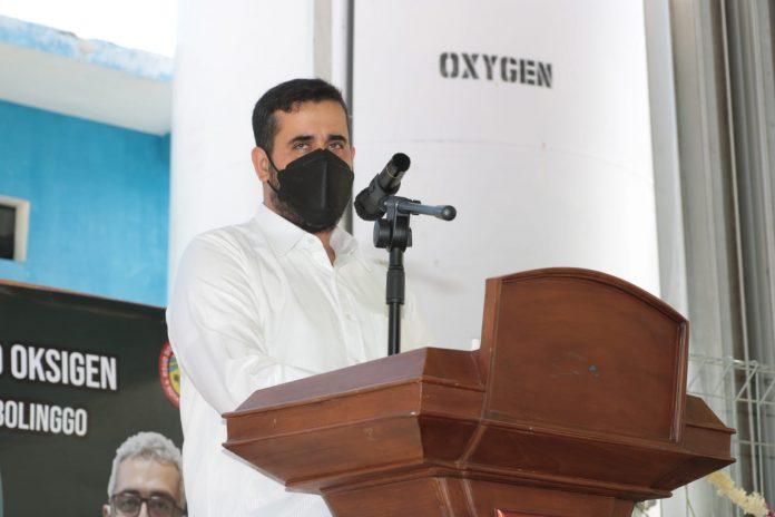 Walikota Probolinggo, Hadi Zainal Abidin, saat meresmikan penggunaan sentral liquid oksigen UOBK RSUD Dr Mohamad Saleh